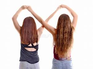 Two Best Friend Girls Making A Forever Sign Stock Photo ...