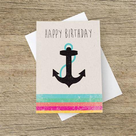 happy birthday anchor card   strawberry card