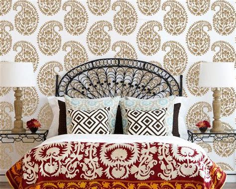 indian paisley wall stencil  ethnic  royaldesignstencils