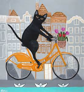 cat on a bike amsterdam bicycle ride original cat folk painting