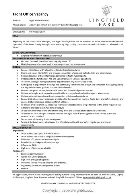 Free Hotel Front Office Manager Resume Templates Resume Template For Office Manager Best Sample