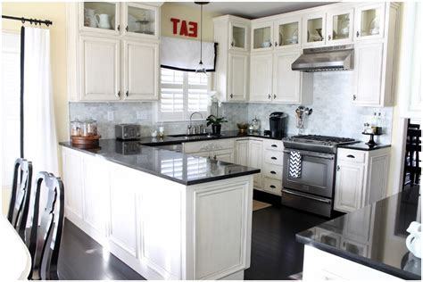Hampton bay shaker assembled 24x34.5x24 in. White Kitchen Cabinets With Black Hardware ...