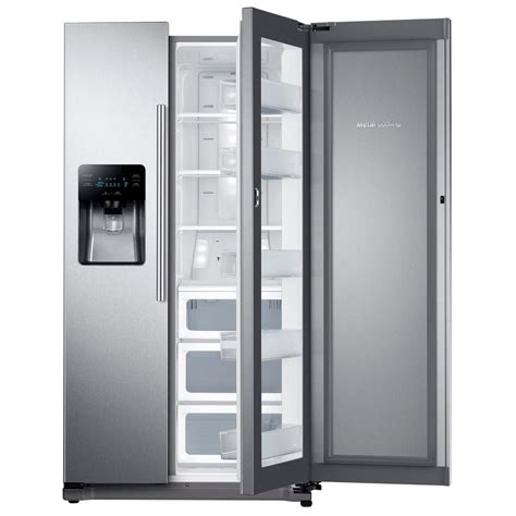 samsung side by side samsung 24 7 cu ft side by side refrigerator in stainless steel with food showcase design
