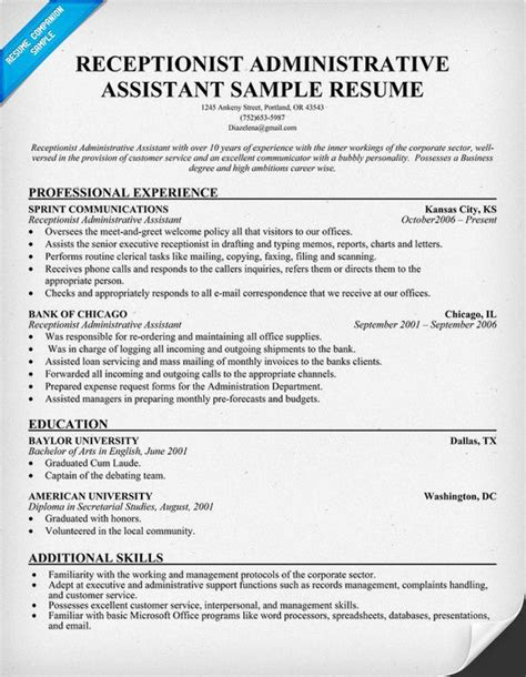 admin asst resume sample resume receptionist administrative assistant
