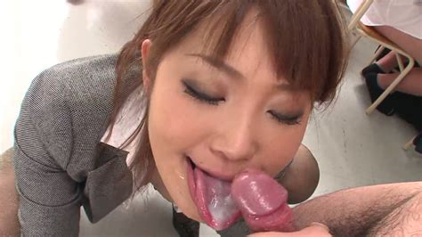 Busty Japanese Teacher Pleases Her Boy With Solid Blowjob In College