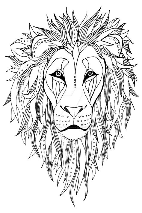 patterned Lion ink drawing   Lion coloring pages, Lion