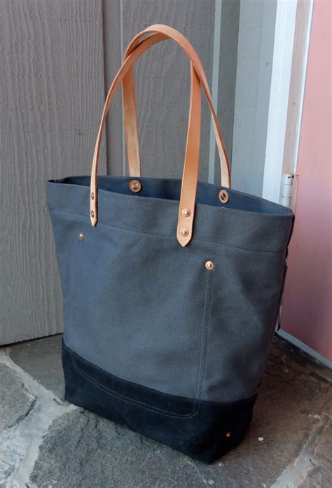 waxed canvas tote bag waxed canvas tote bag with leather handles large charcoal