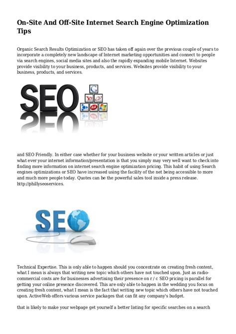 Site Engine Optimization by On Site And Site Search Engine Optimization Tips
