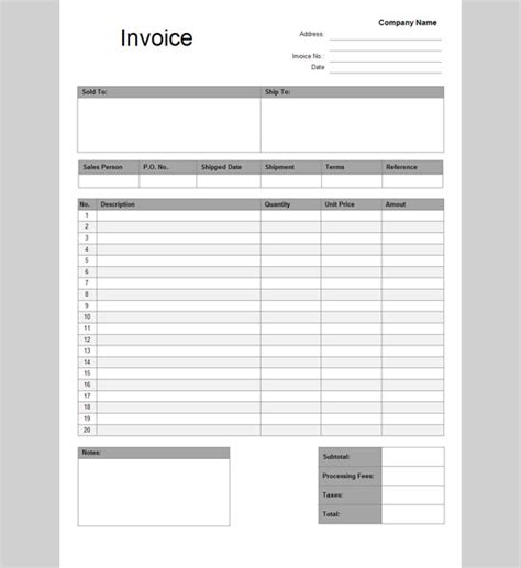 docs templates docs invoice template printable invoice template