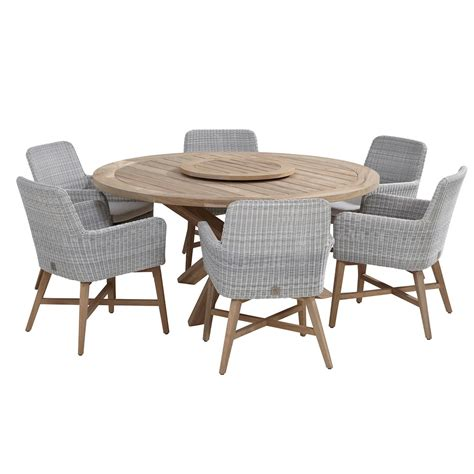 lisboa teak table rattan chair set by 4 seasons outdoor