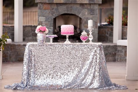 Handmade Silver Sequin Rectanglar Wedding Tablecloth Linens Polyester 50''x72'' Wedding Costs In Uk Per Plate Tax Deductible Dance Order Etiquette Harry Message Photo Summary By Amador Daguio