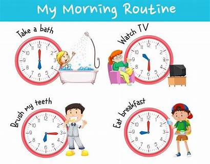 Morning Routines Chart Different Showing Vector Routine