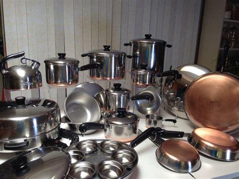 vintage revere ware copper clad cookware set pre  stainless set  electric skillet kettle