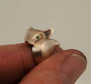 fox ring bronze pick your eye color With fox wedding ring