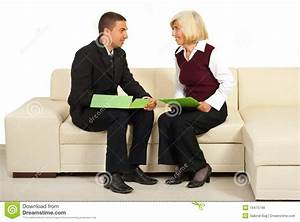 Two Business People Having Conversation Stock Photo ...