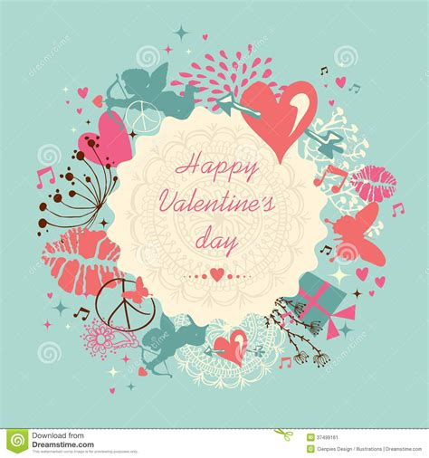 Cute Happy Valentine`s Day Greeting Card Stock Vector ...