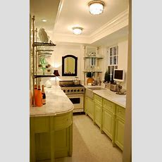 Fabulous Galley Kitchen, Green Cabinetry Mixed With