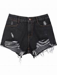 Black Pockets Ripped Denim Shorts -SheIn(Sheinside)