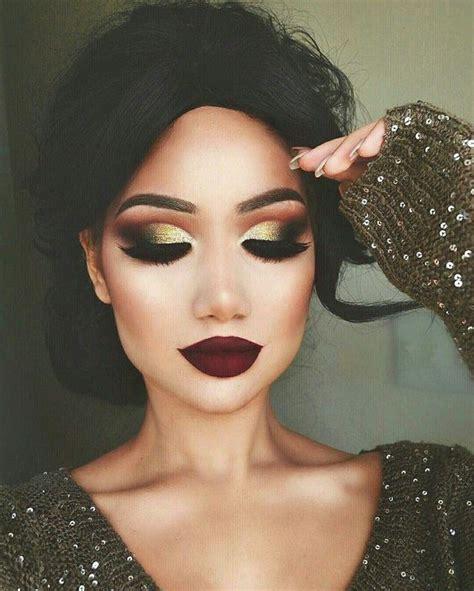 make up gold festive gold glittery eye makeup dramatic look dramatic