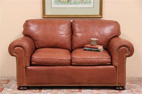 sold whittemore sherrill saddle leather loveseat sofa