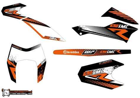 ktm 690 smc r r line decal kit custom race number crispy designs specialist in custom