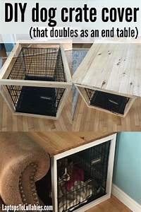 Laptops to lullabies diy dog crate cover for How to build a dog crate end table
