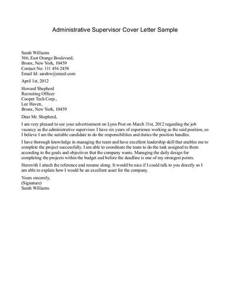 cover letter for supervisor position resume exles