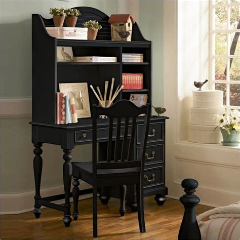black writing desk with hutch lea elite retreat desk with hutch in black traditional