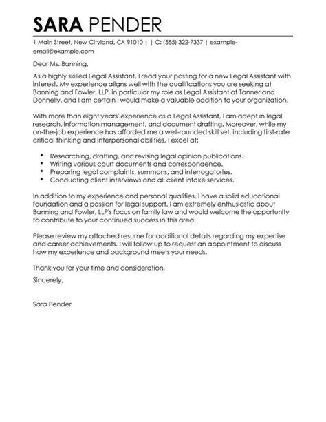 legal assistant cover letter    convincing
