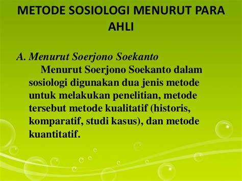 sosiologi sebagai ilmu dan metode