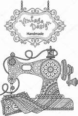 Sewing Machine Coloring Vector Decorative Flowers Ornaments Illustration Pages Adults Colouring Machines Singer Template Tpr Adult Costura Depositphotos Featherweights Craft sketch template