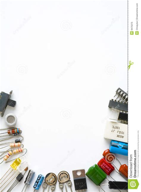 Gesits Electric Image by Electronic Components On White Background Royalty Free