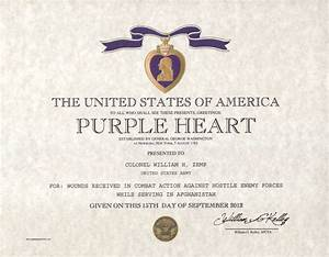 purple heart certificate purple heart medal With purple heart citation template
