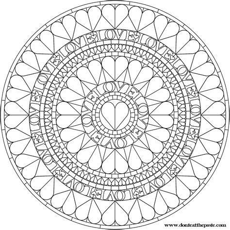 mandala to color don t eat the paste hearts mandala to color