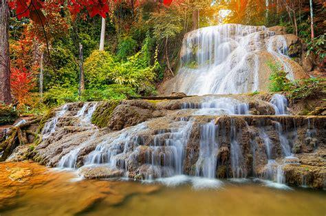 Wallpaper Thailand Mae Kae Waterfall Lampang Nature Autumn