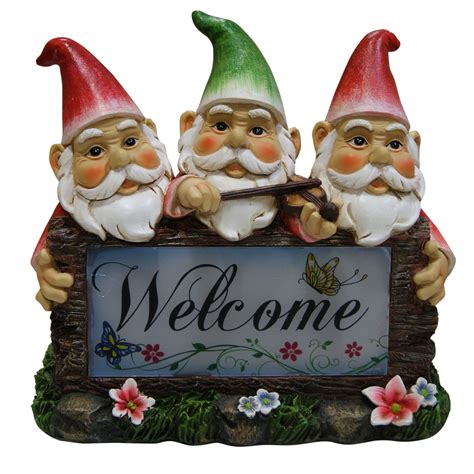 solar gnomes with welcome sign garden statue