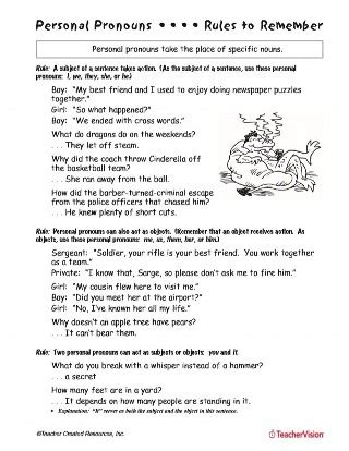 personal pronouns printable   grade teachervision