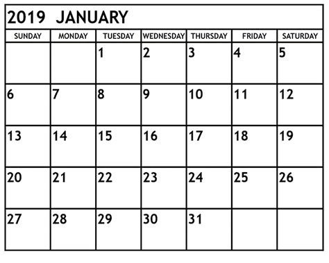 calendar template 2019 january 2019 printable calendar template pdf excel word january 2019 calendar printable