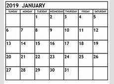 Download January 2019 A4 Calendar Template Free