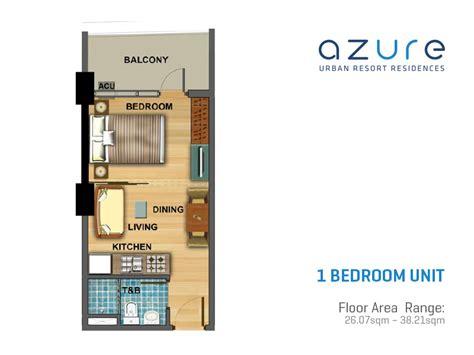 One Bedroom Unit Layout by Azure Resort Residences Floor Plans Real Estate