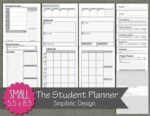 Daily Planner Pages Student Planner Printable Set Sized Small 5 5 X