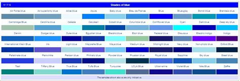 colors of blue names list of colors and name of their shades colour chart