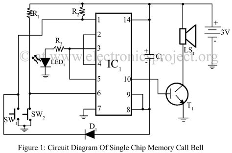 Electronic Bell Circuit Diagram by Single Chip Memory Call Bell Electronics Project