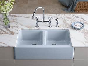 standard plumbing supply product kohler k 6534 4u 0 With apron front sink with faucet holes