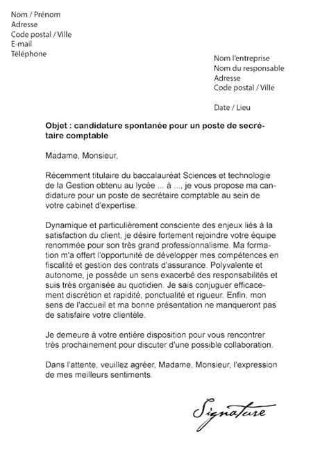 emploi nettoyage bureau lettre de motivation secrétaire comptable modèle de lettre