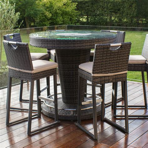 lagos brown rattan garden bar with ice bucket and 6 stools