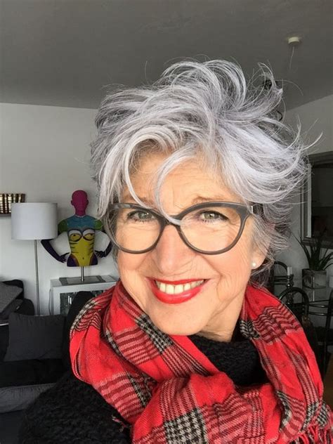 beautiful messy curly hairstyle  older women  grey