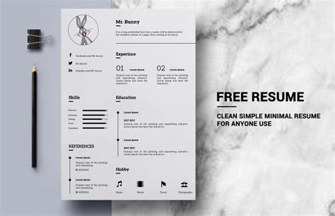 Clean Resume Template Psd by Free Clean Simple Resume Template Psd Titanui