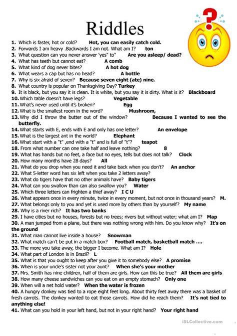 Difficult Halloween Riddles For Adults 59 riddles worksheet free esl printable worksheets made