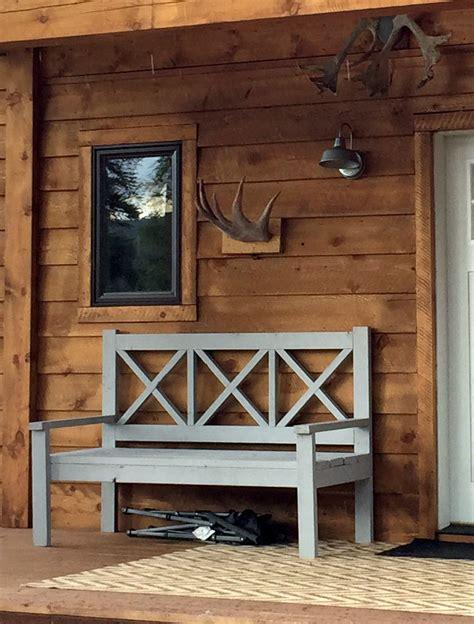 Diy Patio Bench Plans by Large Porch Bench Alaska Lake Cabin White